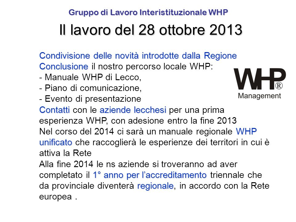 Gruppo di Lavoro Interistituzionale WHP Il lavoro del 28 ottobre 2013