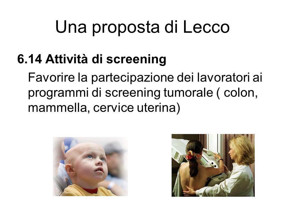 Una proposta di Lecco 6.14 Attività di screening