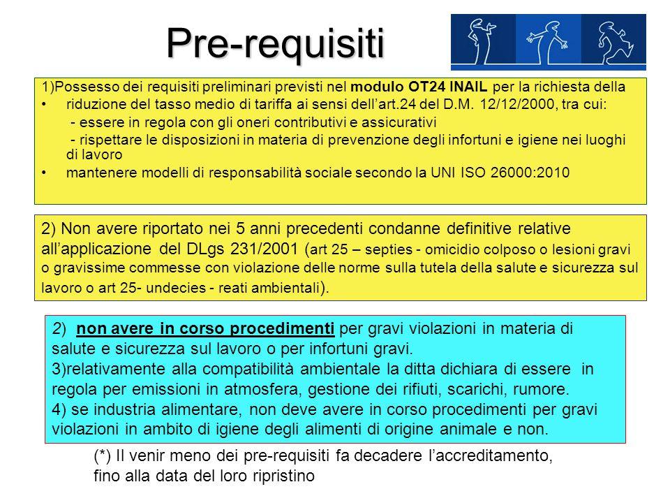 Pre-requisiti 1)Possesso dei requisiti preliminari previsti nel modulo OT24 INAIL per la richiesta della.