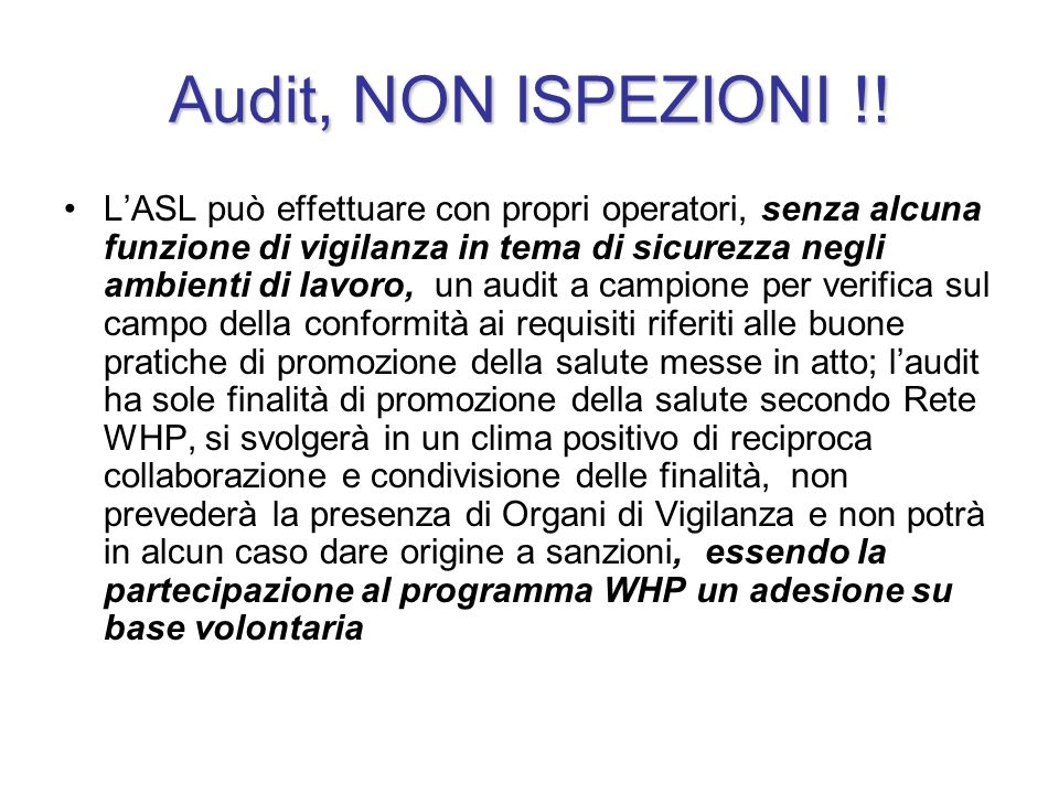 Audit, NON ISPEZIONI !!