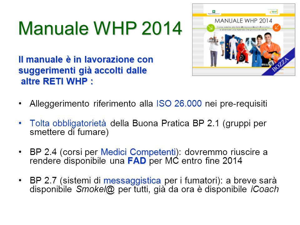 Manuale WHP 2014 Il manuale è in lavorazione con