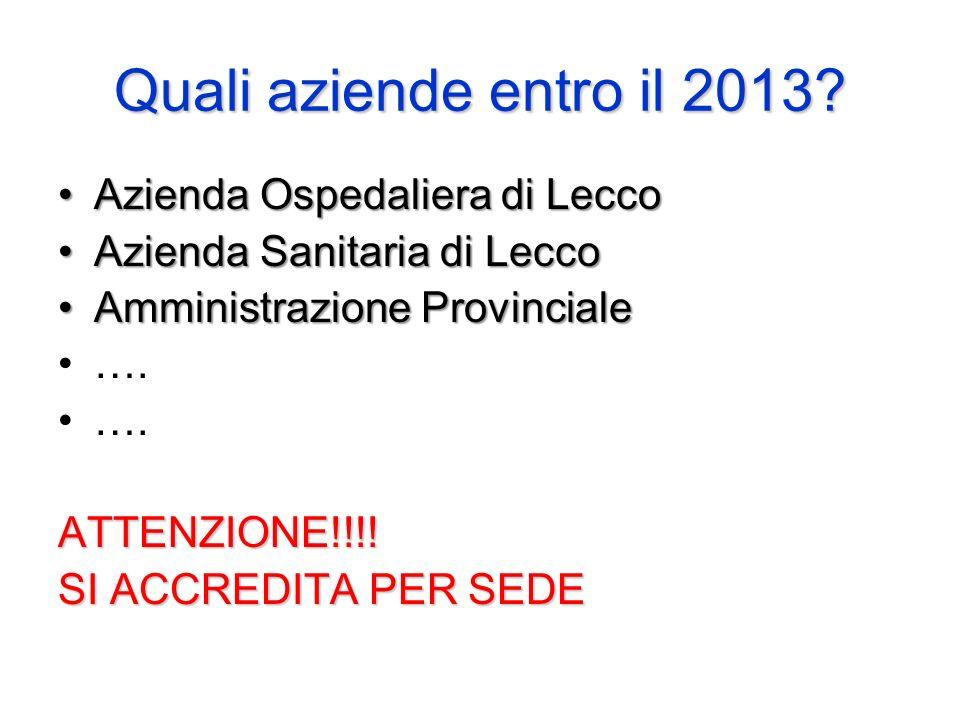 Quali aziende entro il 2013 Azienda Ospedaliera di Lecco