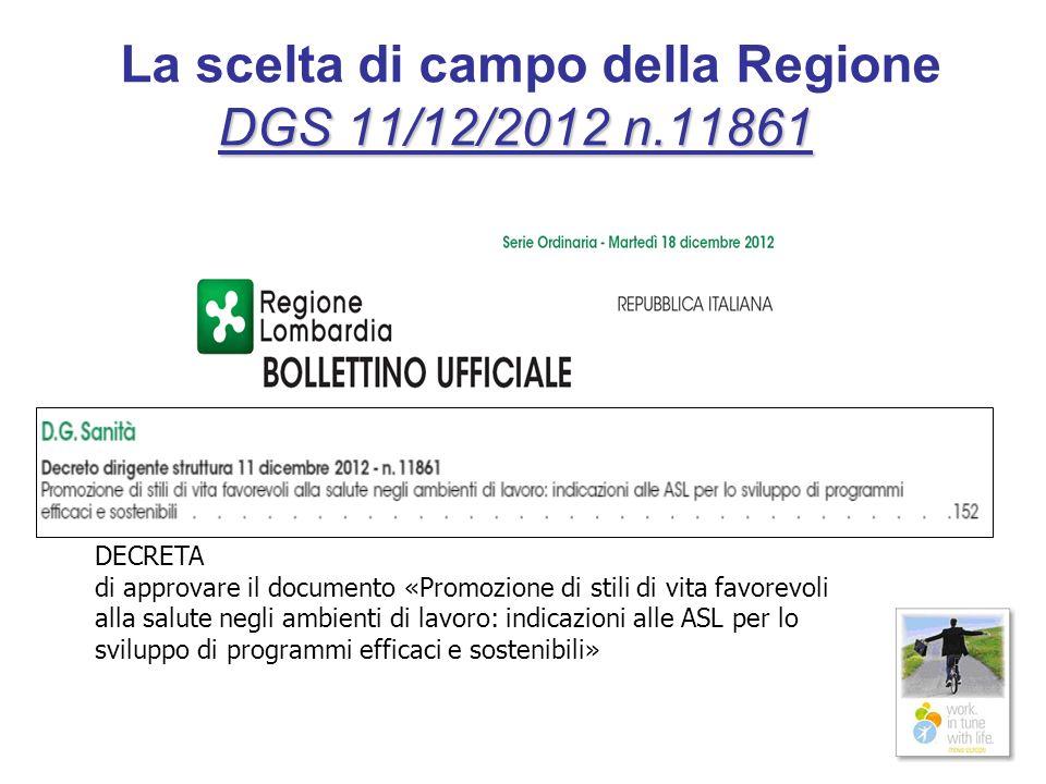 La scelta di campo della Regione DGS 11/12/2012 n.11861