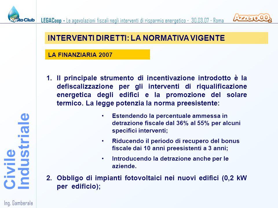 Industriale Civile INTERVENTI DIRETTI: LA NORMATIVA VIGENTE