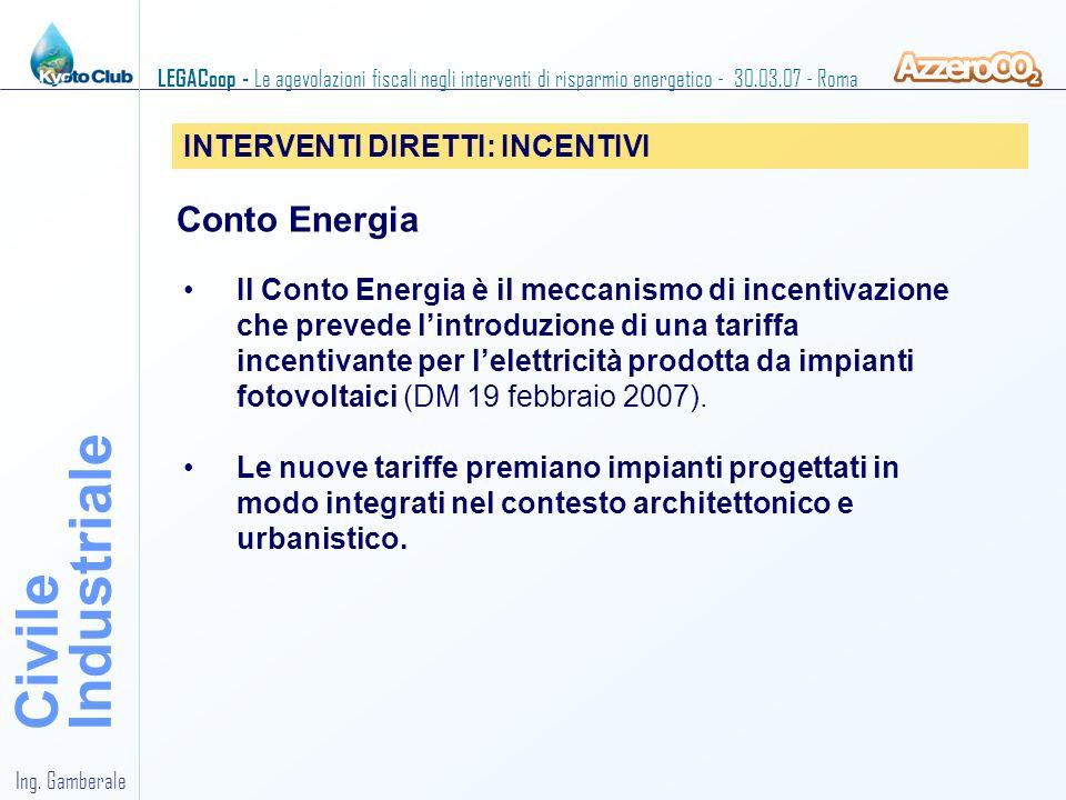 Industriale Civile Conto Energia INTERVENTI DIRETTI: INCENTIVI
