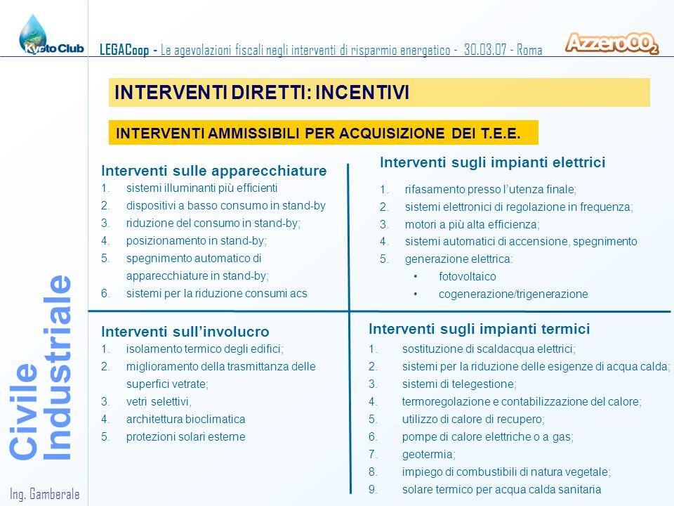 Industriale Civile INTERVENTI DIRETTI: INCENTIVI