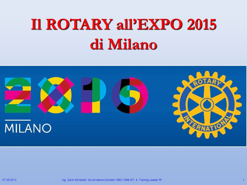 Il ROTARY all'EXPO 2015 di Milano