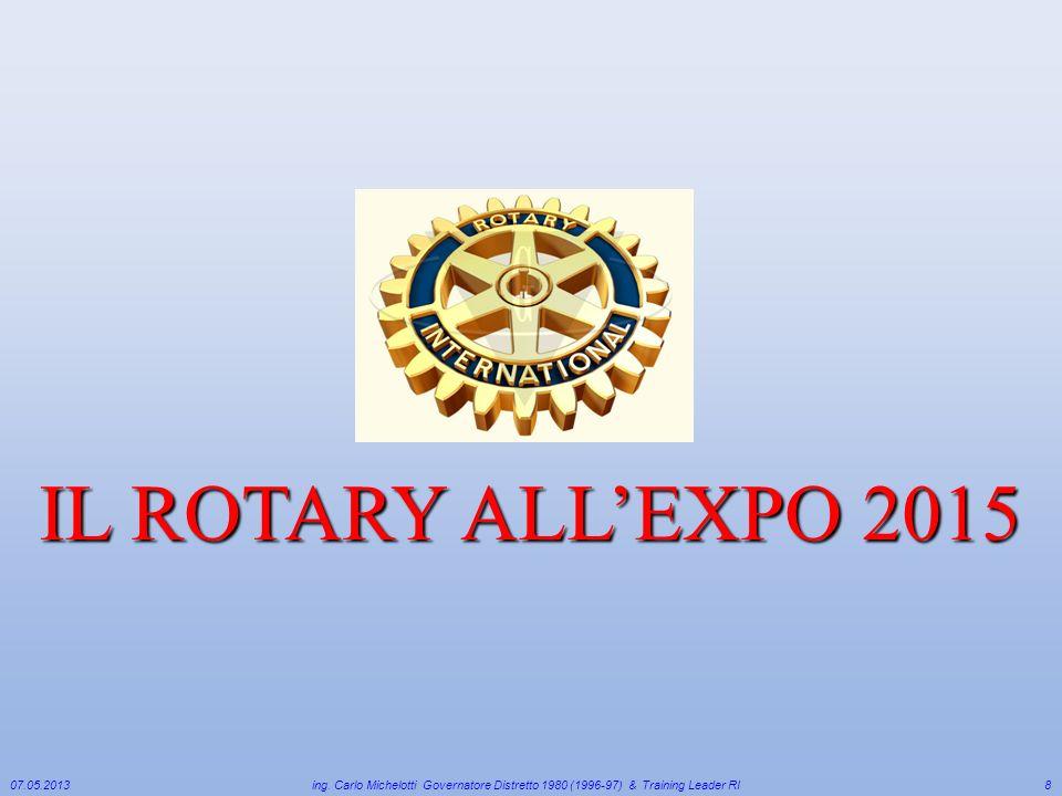 IL ROTARY ALL'EXPO 2015 07.05.2013. ing. Carlo Michelotti Governatore Distretto 1980 (1996-97) & Training Leader RI.