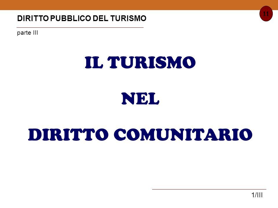IL TURISMO NEL DIRITTO COMUNITARIO