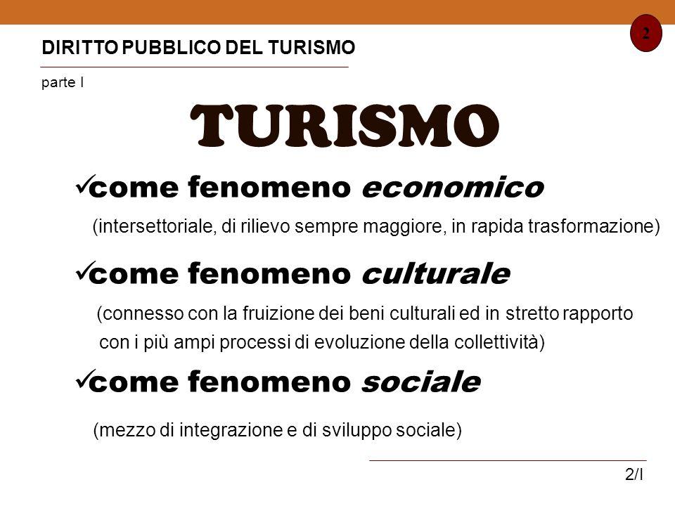 TURISMO come fenomeno economico come fenomeno culturale