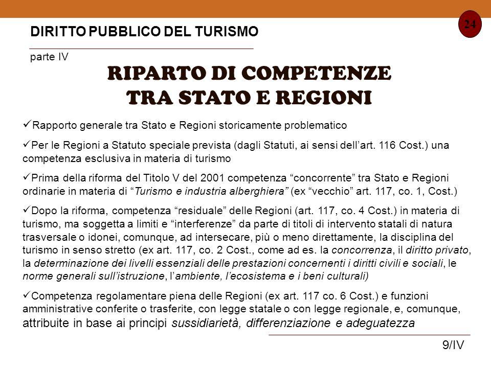 RIPARTO DI COMPETENZE TRA STATO E REGIONI
