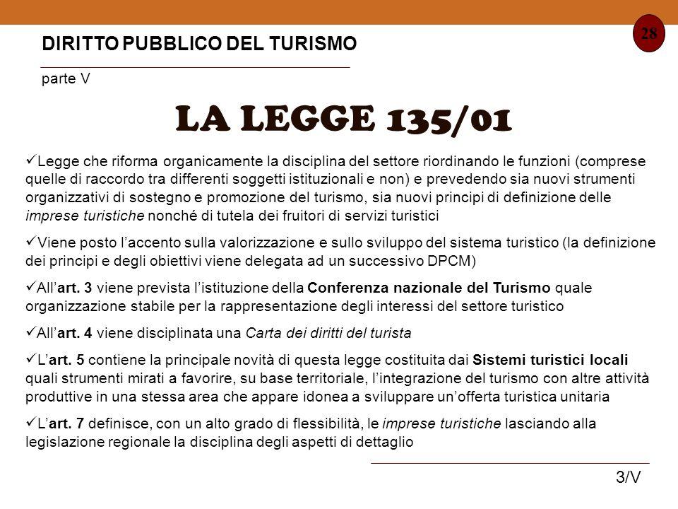 LA LEGGE 135/01 DIRITTO PUBBLICO DEL TURISMO parte V 28 3/V