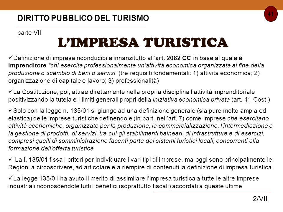 L'IMPRESA TURISTICA DIRITTO PUBBLICO DEL TURISMO parte VII 41 2/VII