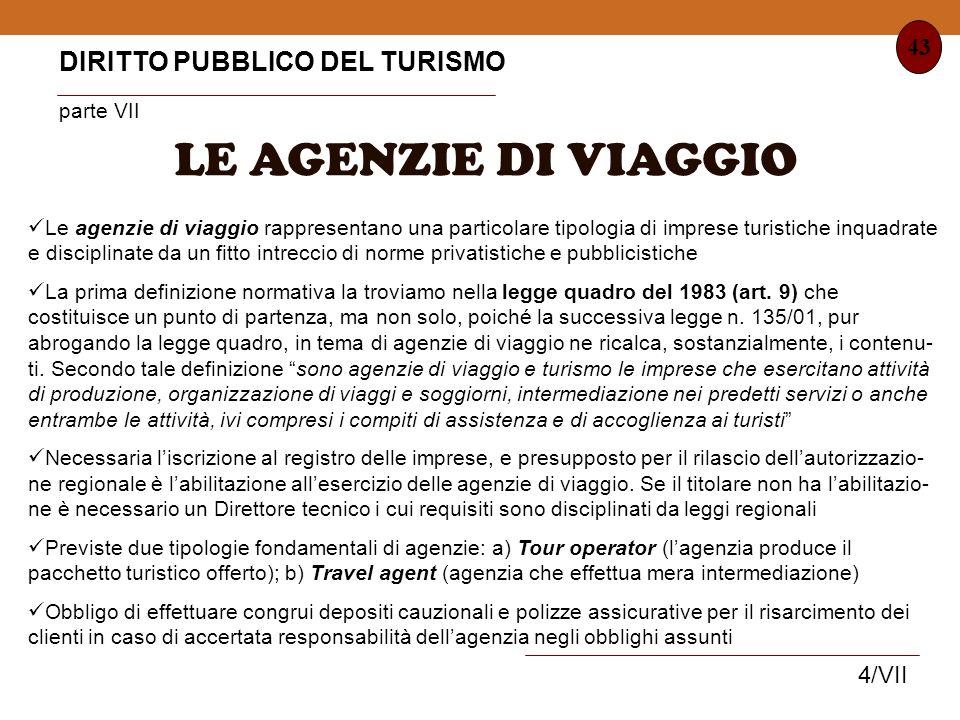 LE AGENZIE DI VIAGGIO DIRITTO PUBBLICO DEL TURISMO parte VII 43 4/VII