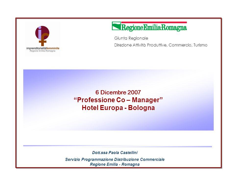 6 Dicembre 2007 Professione Co – Manager Hotel Europa - Bologna