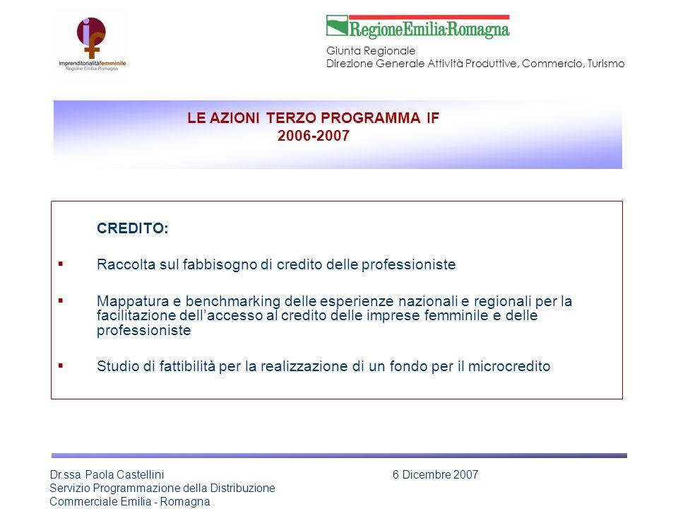 LE AZIONI TERZO PROGRAMMA IF 2006-2007