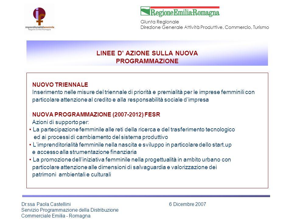 LINEE D' AZIONE SULLA NUOVA PROGRAMMAZIONE