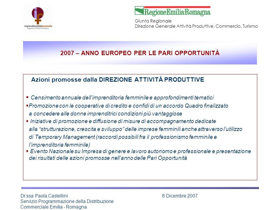 2007 – ANNO EUROPEO PER LE PARI OPPORTUNITÀ