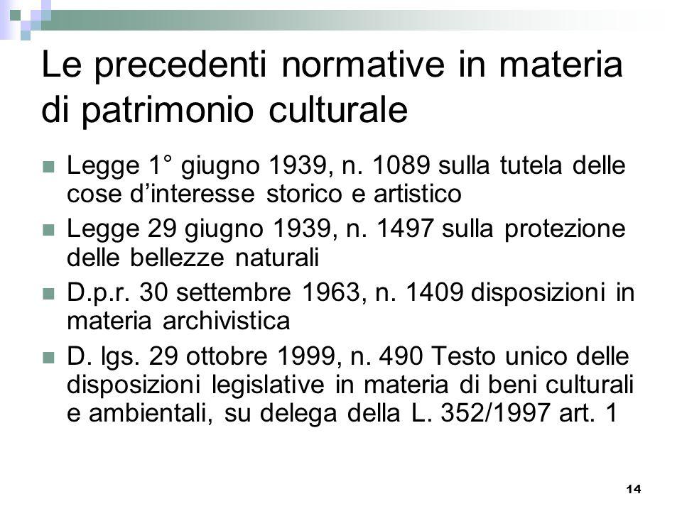Le precedenti normative in materia di patrimonio culturale