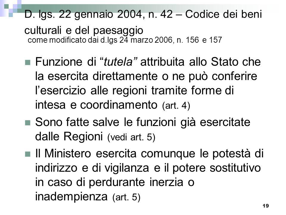 D. lgs. 22 gennaio 2004, n. 42 – Codice dei beni culturali e del paesaggio come modificato dai d.lgs 24 marzo 2006, n. 156 e 157