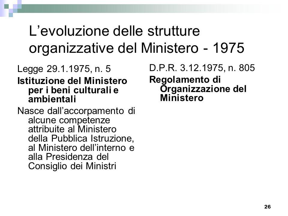 L'evoluzione delle strutture organizzative del Ministero - 1975