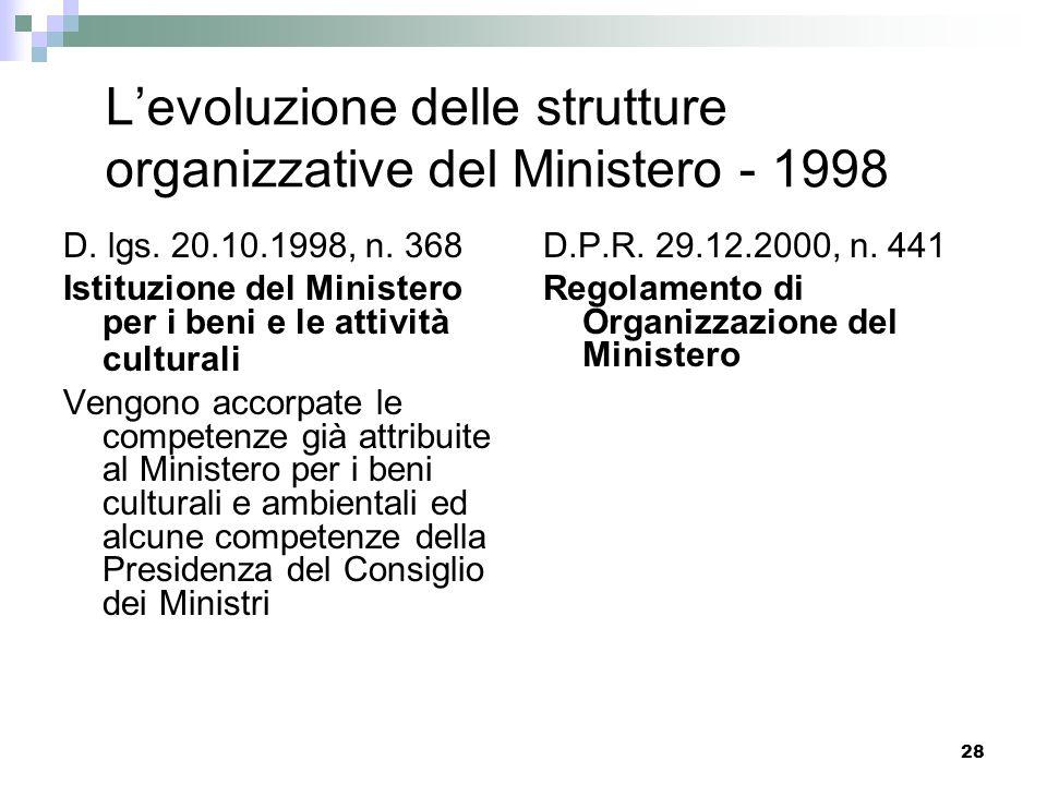 L'evoluzione delle strutture organizzative del Ministero - 1998
