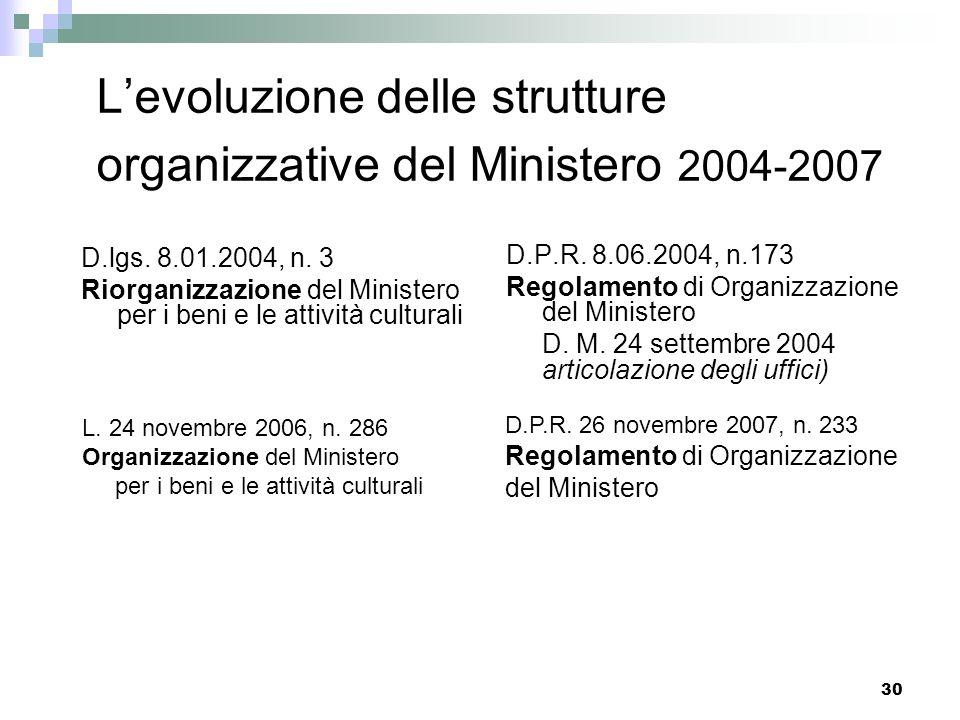 L'evoluzione delle strutture organizzative del Ministero 2004-2007
