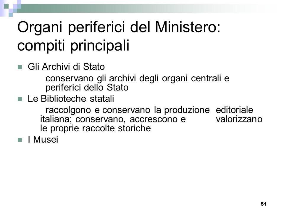 Organi periferici del Ministero: compiti principali