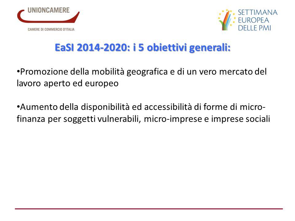 EaSI 2014-2020: i 5 obiettivi generali: