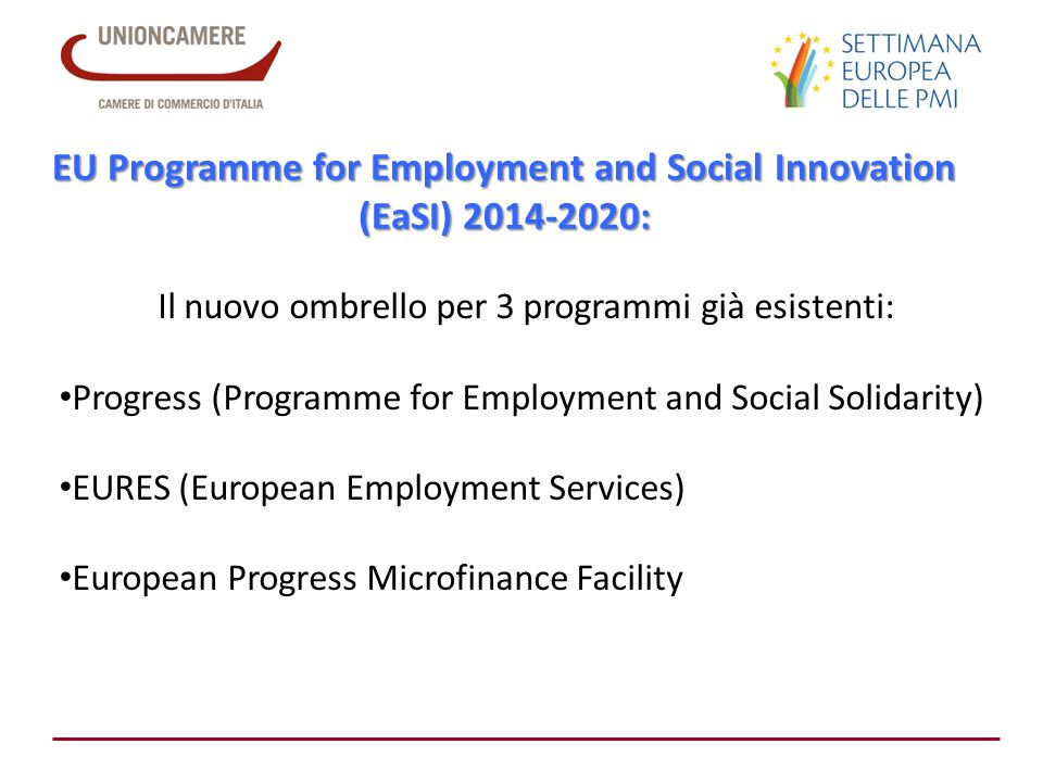 EU Programme for Employment and Social Innovation (EaSI) 2014-2020: