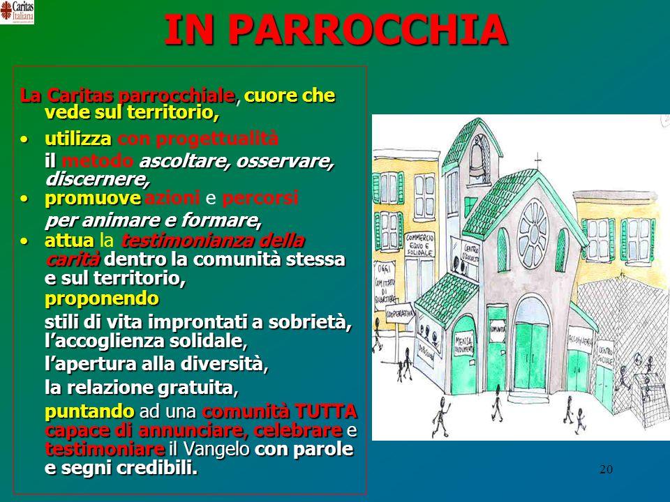 IN PARROCCHIA La Caritas parrocchiale, cuore che vede sul territorio,