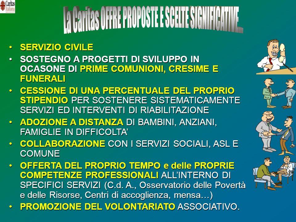La Caritas OFFRE PROPOSTE E SCELTE SIGNIFICATIVE...