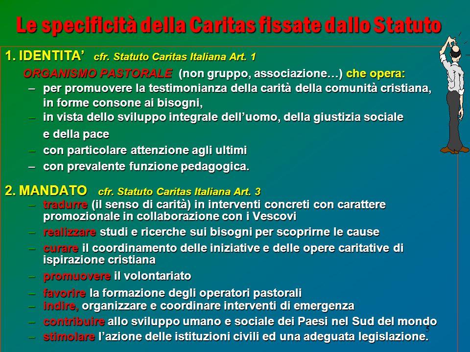 Le specificità della Caritas fissate dallo Statuto
