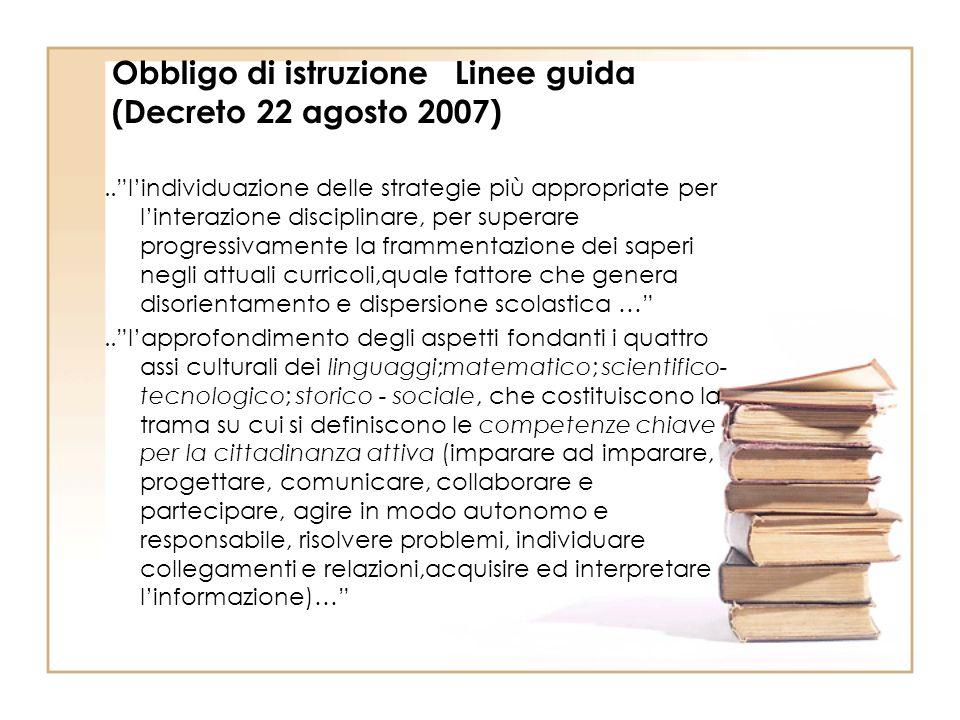 Obbligo di istruzione Linee guida (Decreto 22 agosto 2007)