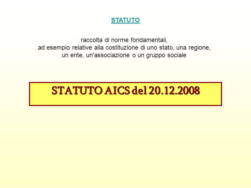 STATUTO AICS del 20.12.2008 STATUTO raccolta di norme fondamentali,