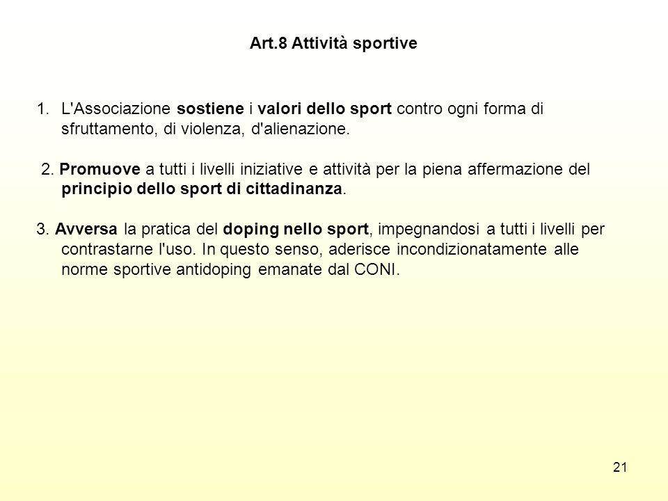 Art.8 Attività sportive L Associazione sostiene i valori dello sport contro ogni forma di sfruttamento, di violenza, d alienazione.