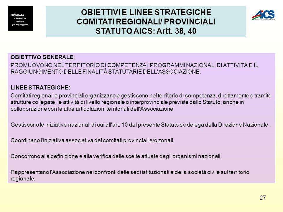 OBIETTIVI E LINEE STRATEGICHE COMITATI REGIONALI/ PROVINCIALI