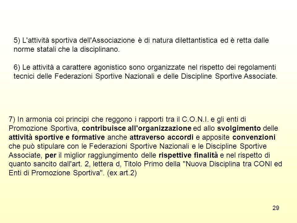 5) L attività sportiva dell Associazione è di natura dilettantistica ed è retta dalle norme statali che la disciplinano.