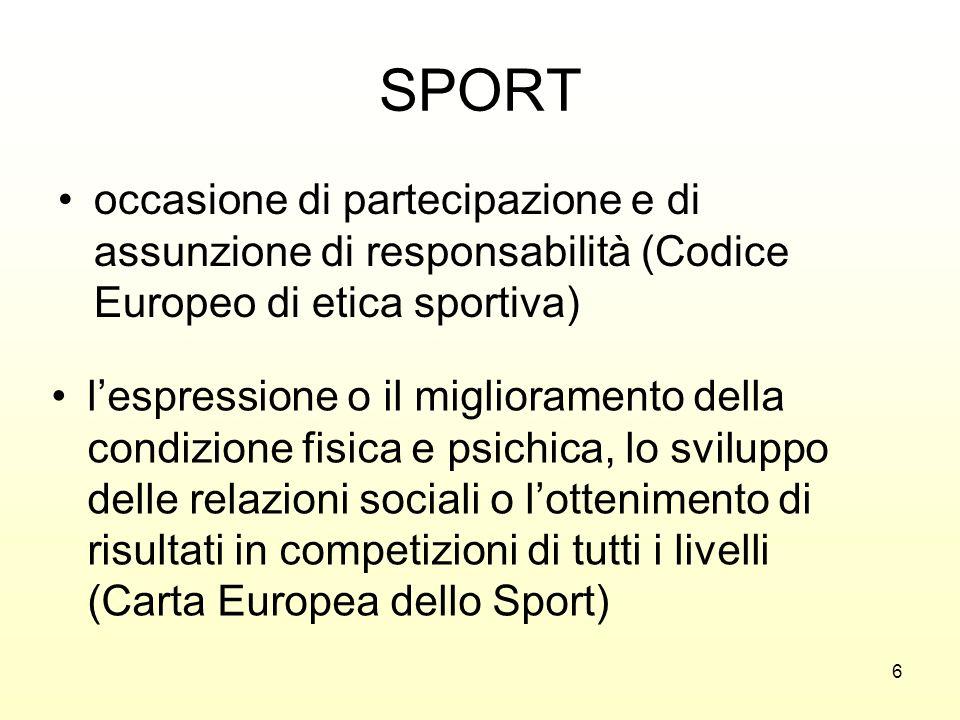 SPORT occasione di partecipazione e di assunzione di responsabilità (Codice Europeo di etica sportiva)