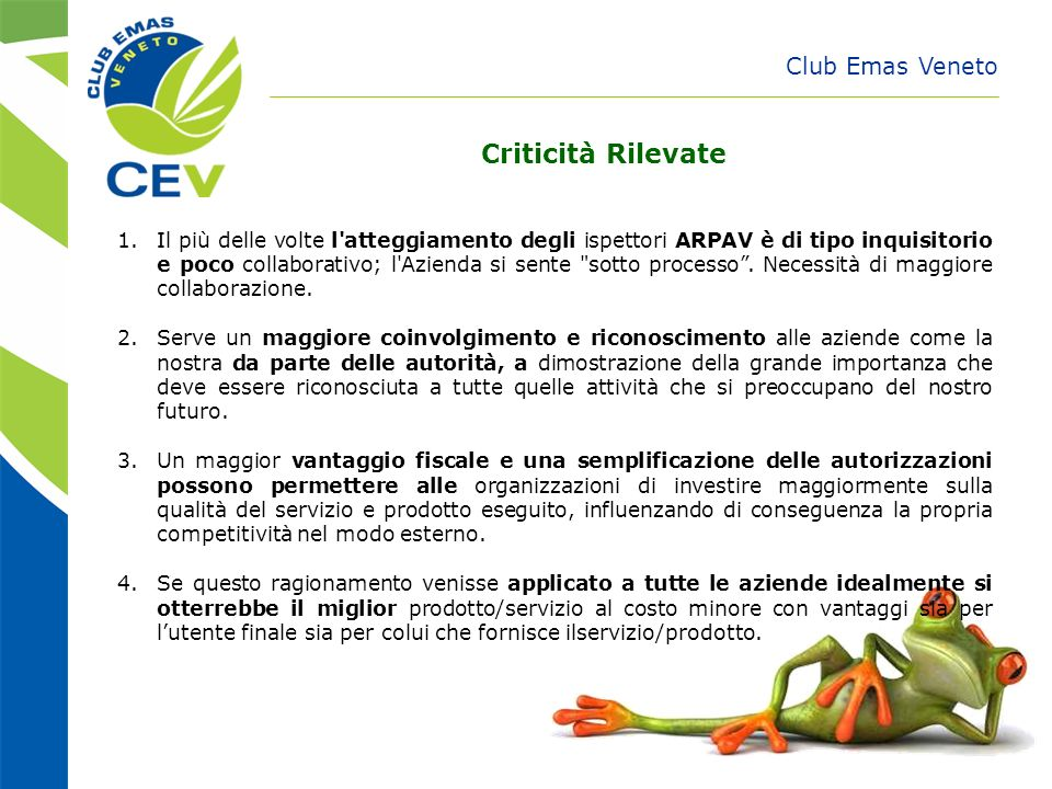Criticità Rilevate Club Emas Veneto