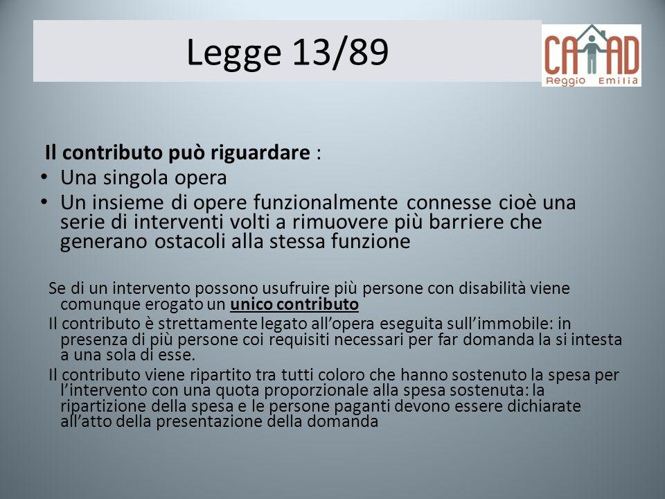 Legge 13/89 Il contributo può riguardare : Una singola opera