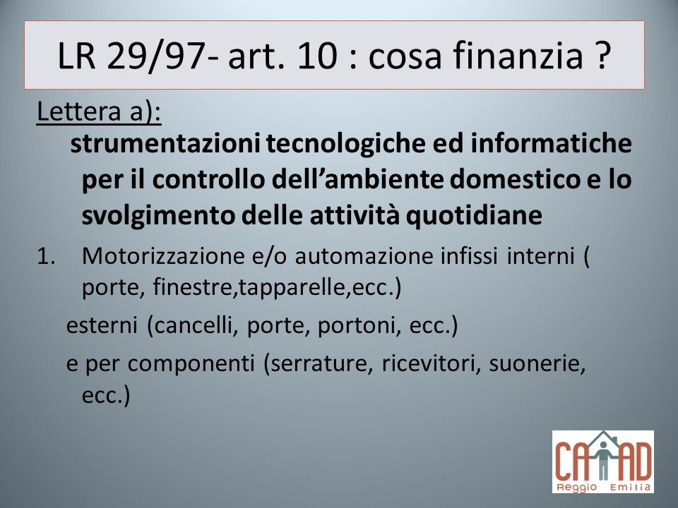 LR 29/97- art. 10 : cosa finanzia