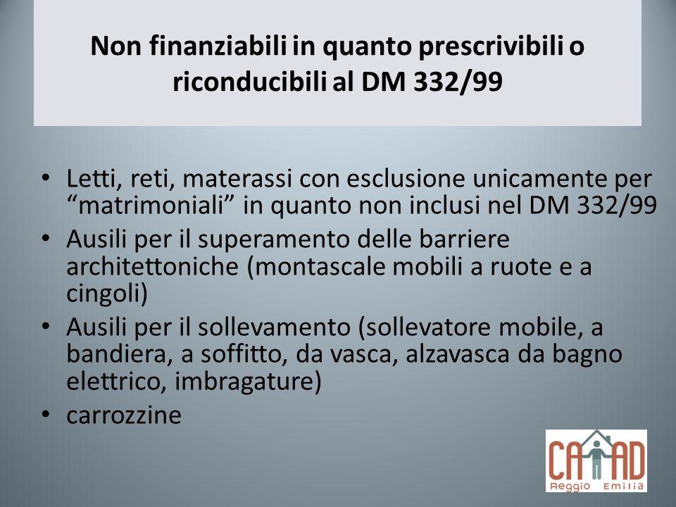 Non finanziabili in quanto prescrivibili o riconducibili al DM 332/99