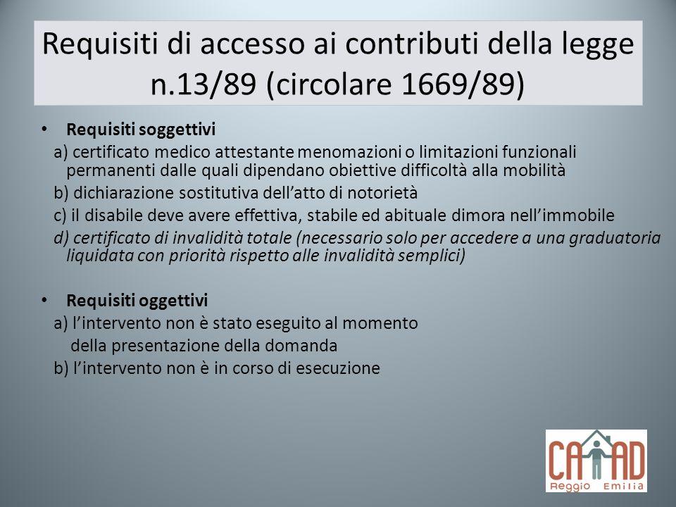 Requisiti di accesso ai contributi della legge n