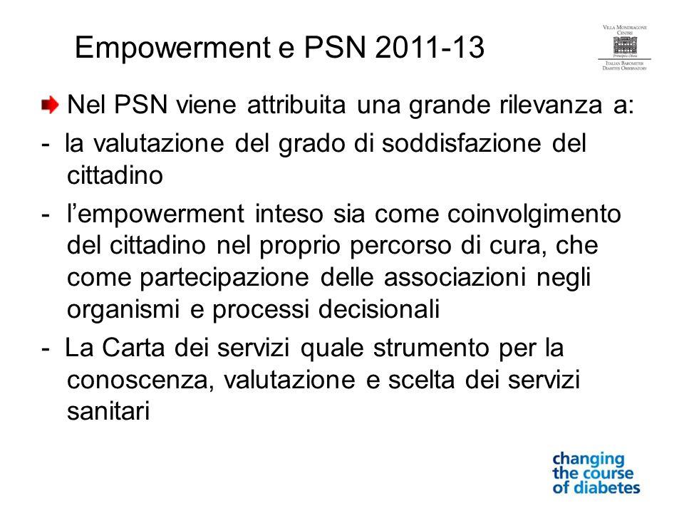 Empowerment e PSN 2011-13 Nel PSN viene attribuita una grande rilevanza a: - la valutazione del grado di soddisfazione del cittadino.