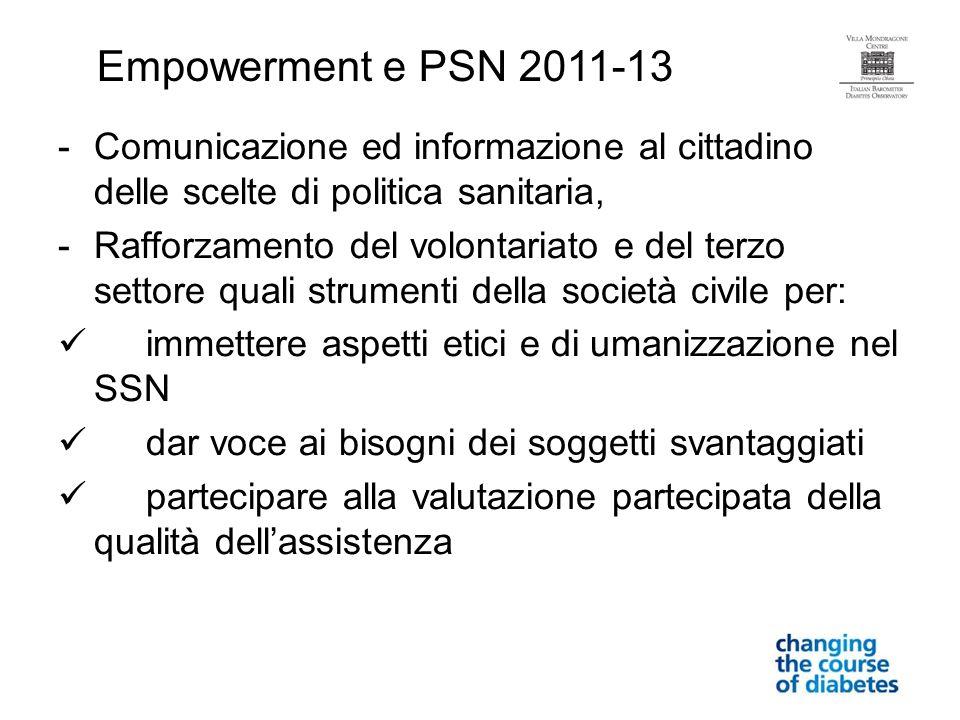 Empowerment e PSN 2011-13 Comunicazione ed informazione al cittadino delle scelte di politica sanitaria,