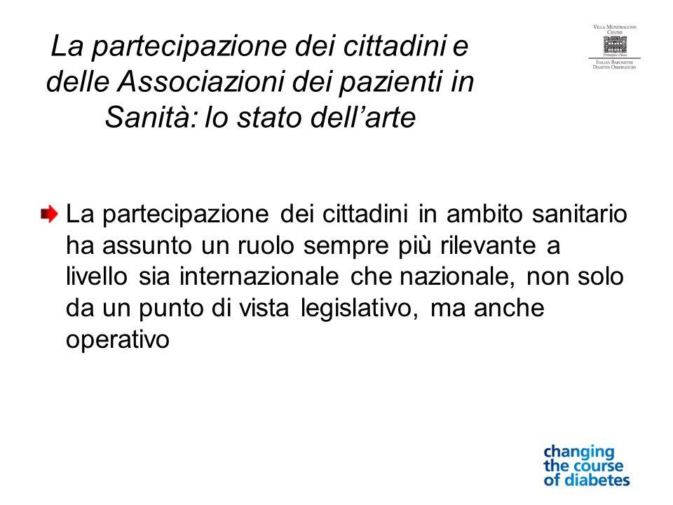 La partecipazione dei cittadini e delle Associazioni dei pazienti in Sanità: lo stato dell'arte