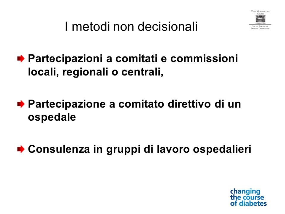 I metodi non decisionali
