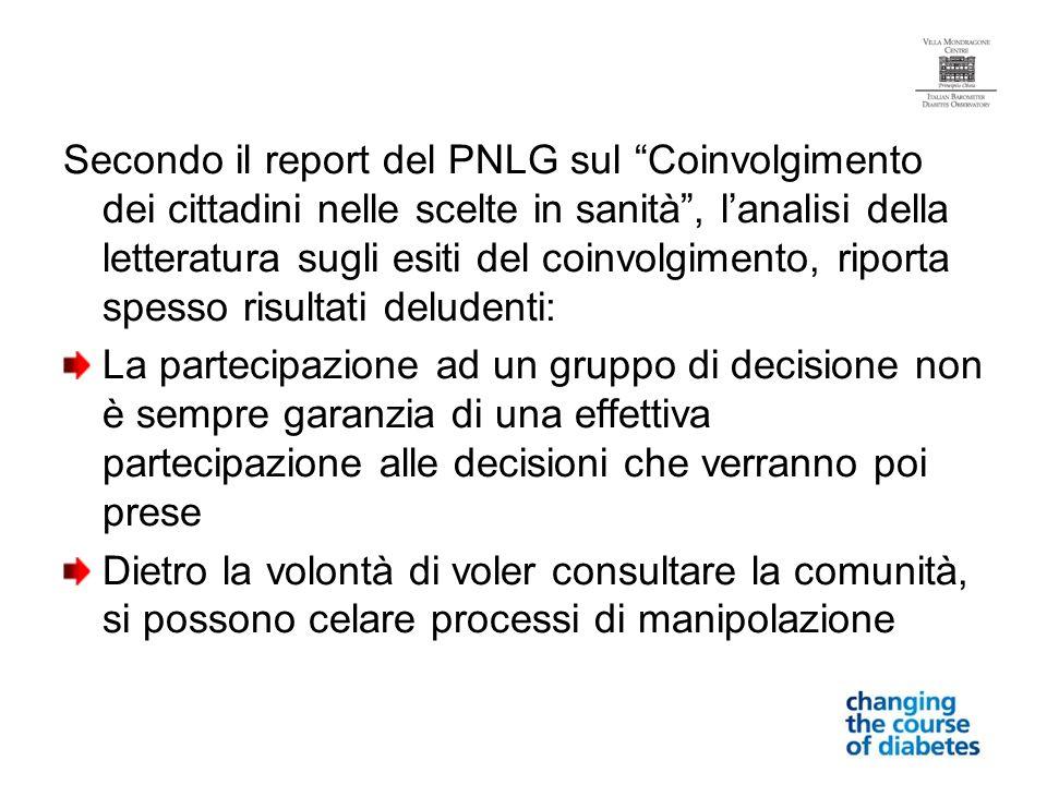 Secondo il report del PNLG sul Coinvolgimento dei cittadini nelle scelte in sanità , l'analisi della letteratura sugli esiti del coinvolgimento, riporta spesso risultati deludenti: