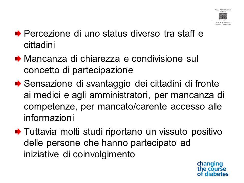 Percezione di uno status diverso tra staff e cittadini